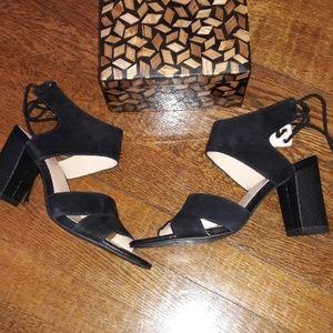 Franco Sarto Suede Sandal Sz 7 Black